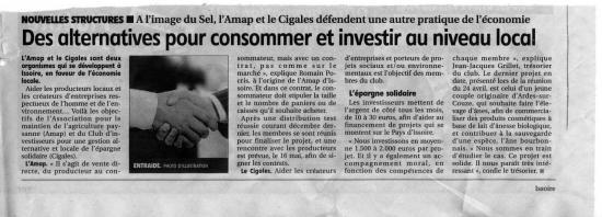 Article la montagne 7 mai 2013 (SEL, AMAP et Cigales)